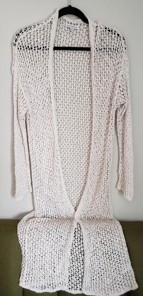 Crocheted long cardigan